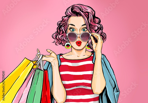 Amazed young sexy woman in glasses with shopping  bags in comic style.  Pop Art  wow girl. Advertising poster with surprised magazine cover female model.