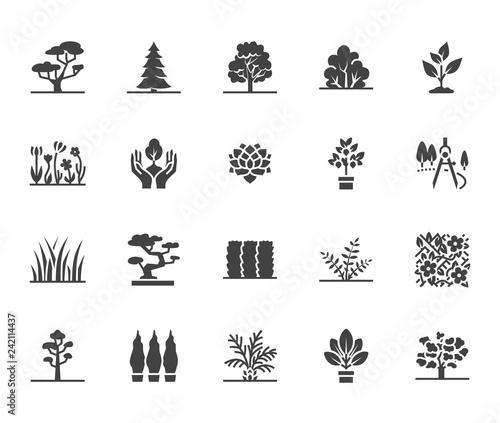 Fotografia Trees flat glyph icons set