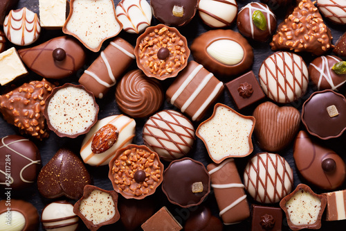 Photo mix of chocolate candies, top view