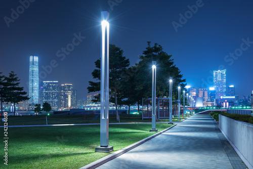 Fototapeta Tamar Promenade of Hong Kong city at night