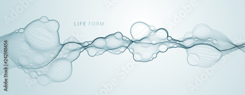 Bubbled abstract vector fluid particle flow, nano medical technology, microbiology science fiction theme illustration.