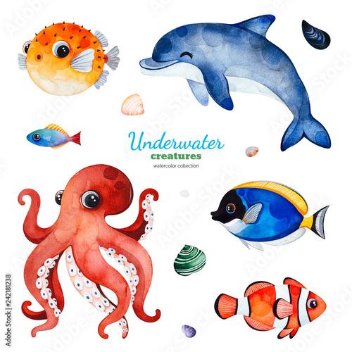 Fototapeta premium Podwodne stworzenia. Kolekcja akwareli z wielobarwnymi rybami koralowymi. Muszle, delfiny, ośmiornice i nie tylko! Idealna na zaproszenia, dekoracje na przyjęcia, do druku, projekty rzemieślnicze, kartki z życzeniami, blogi