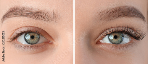 Fotografia, Obraz Young woman with beautiful eyelashes, closeup