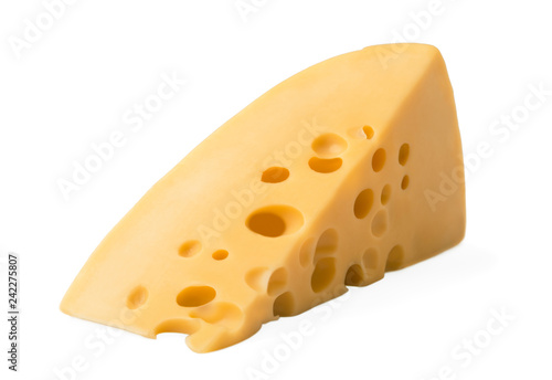 Piece  cheese isolated on a white background