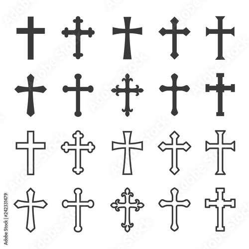 Fotografia Christian cross icons filled and outlined concept design