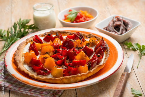 Wallpaper Mural quiche with capsicum and anchovies
