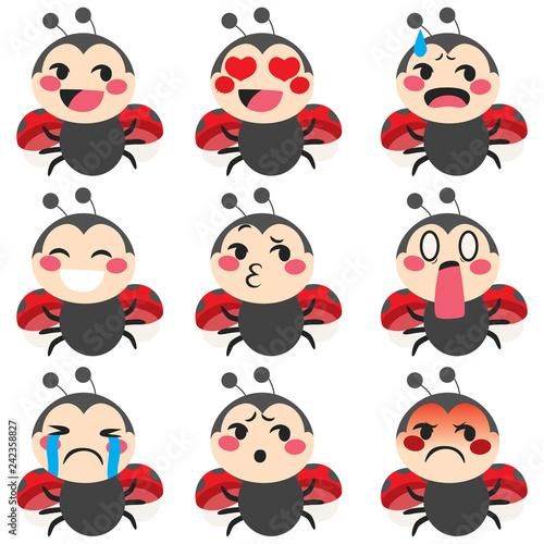 Fototapeta premium Zestaw uroczej biedronki maskotka emoji różnych wyrazów twarzy