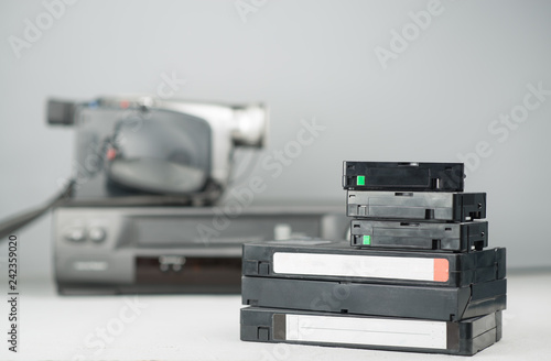 VHS videotapes and video player
