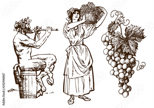 Fototapeta Satyr sitting on the barrel, beautiful peasant woman carrying basket and bunch of grapes