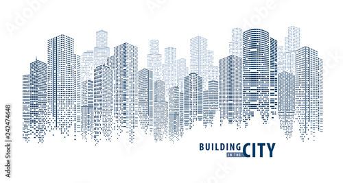 Obraz na płótnie Abstract Futuristic City vector, Dots Building in the City.