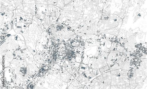 Fotografie, Obraz Mappa satellitare di Kuala Lumpur, Malesia, strade della città