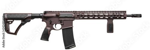 Obraz na plátně Modern brown automatic rifle isolated on white