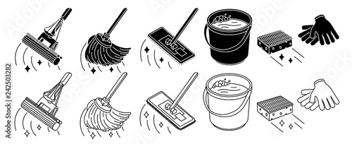 Fotografia Cleaning tools set, mop, bucket thin line icon, isolated on white