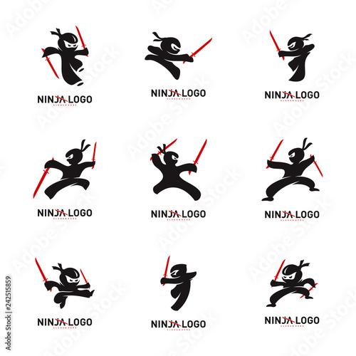 Wallpaper Mural Set of Ninja Warrior logo Design Vector Template