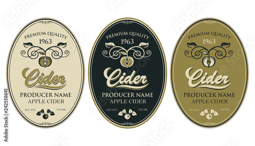 Foto collection of labels for various cider types