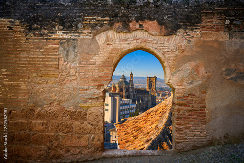 Alhambra arch Granada cathedral illustration
