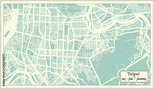 Fotografie, Obraz Taipei Taiwan City Map in Retro Style. Outline Map.