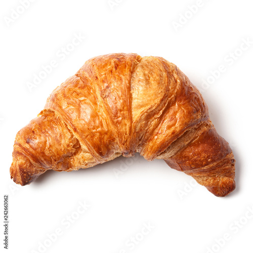 Fotografía French puff pastry croissant isolated on white