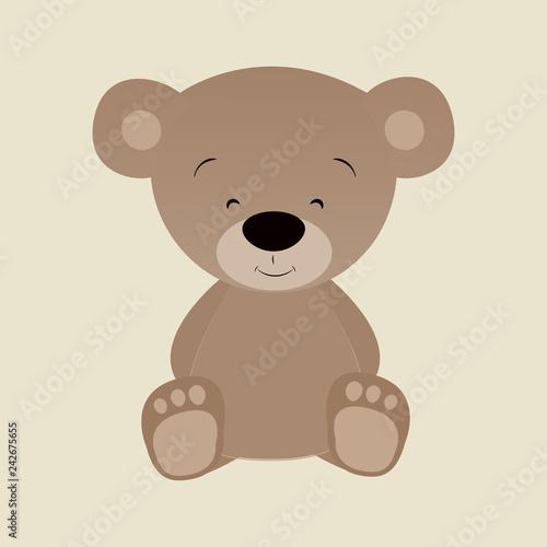 Wręcza patroszoną płaską ilustrację śliczny śmieszny niedźwiedź.