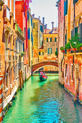 Slika na platnu Venetian canal on summer sunny day