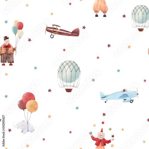 Watercolor circus pattern