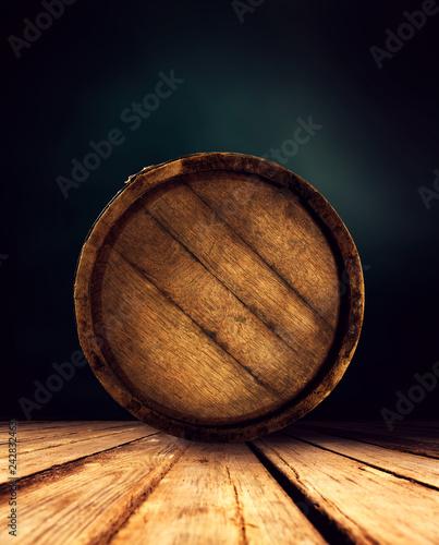 Murais de parede Retro old barrel and free space for your decoration