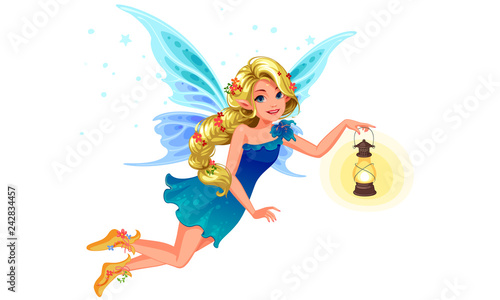 Canvas Print Beautiful blonde blue wing fairy with long braided hairstyle holding a lantern