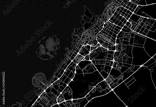 Fotografie, Obraz Dark area map of Dubai, United Arab Emirates