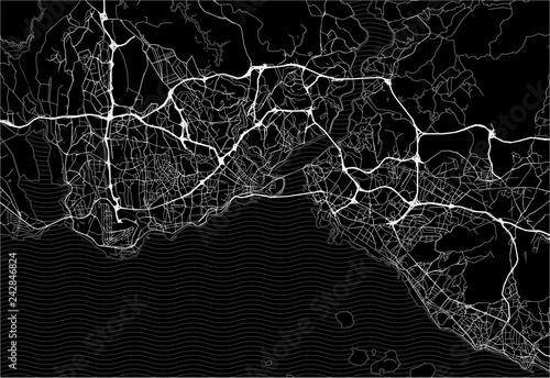 Obraz na plátně Dark area map of Istanbul, Turkey