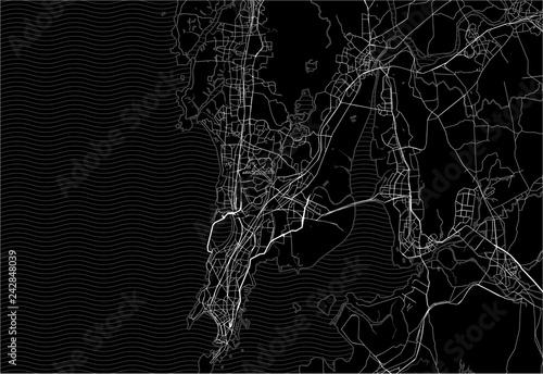 Obraz na plátně Dark area map of Mumbai, India