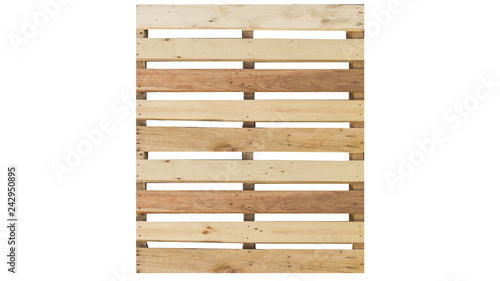 Stampa su Tela top view of isolated wood pallet on the white background