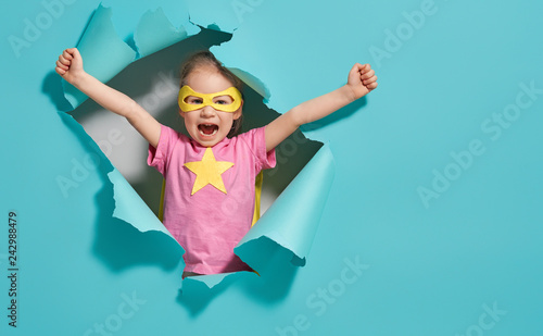 Billede på lærred child playing superhero