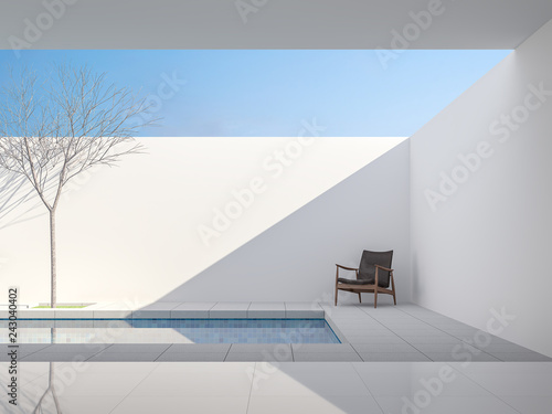 Minimal white style pool villa 3d render,View from living room to pool terrace ,There are gray tile floor,decorate with dark brown leather chair ,Brightness sunlight shining into inside Fototapeta