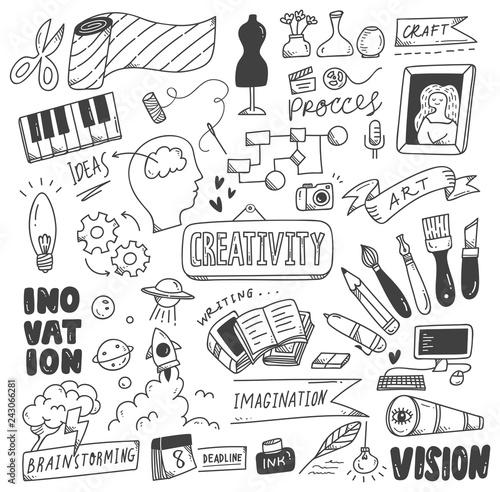 Naklejki na drzwi w kreatywny wzór doodle