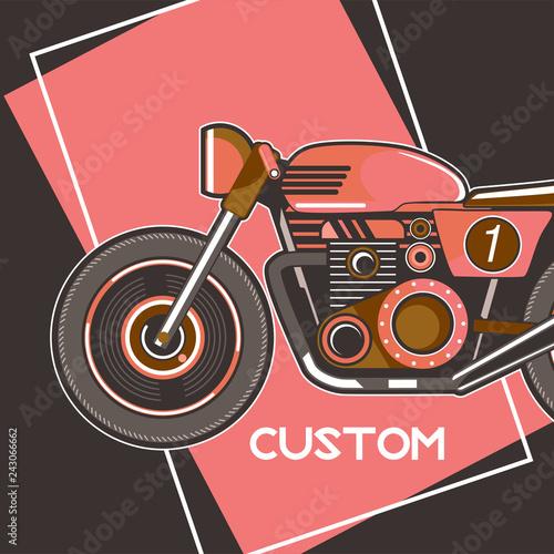 cafe racer , retro , motor , speed . - Vector Fototapeta