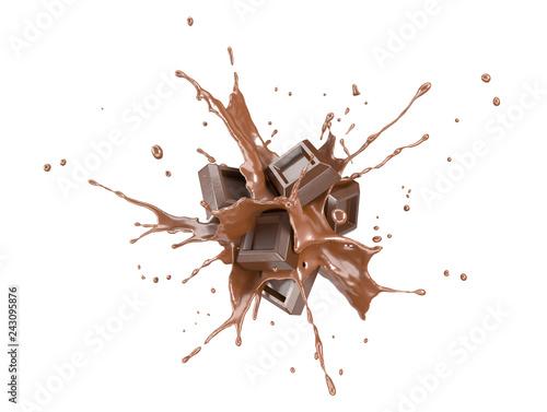 Photo Chocolate blocks splashing into a liquid chocolate splash burst.