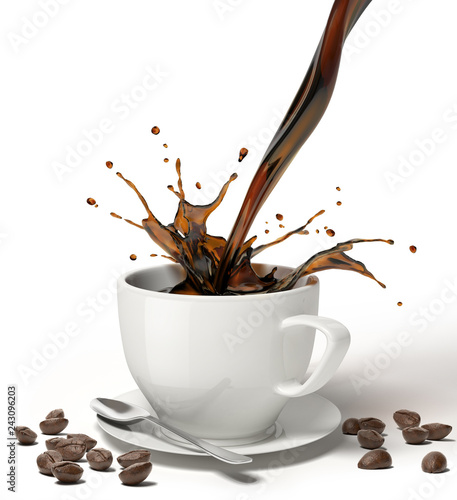 Liquid coffee pour and splash in a white cup on saucer.