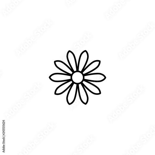 Billede på lærred Outline flat icon of daisy flower