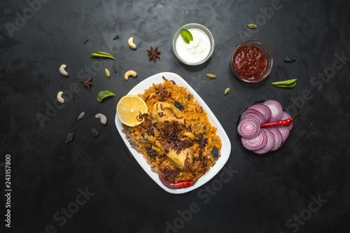 Chicken Kabsa. Saudi style spicy chicken and rice dish.