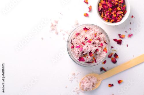 Fototapeta Natural Rose Sugar Scrub, Homemade Cosmetics, Spa Treatment