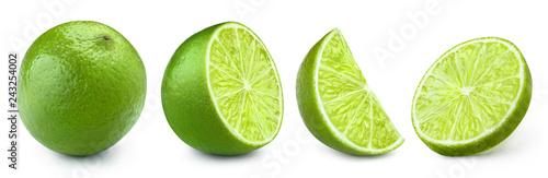 Fotografia Set of limes, isolated on white background