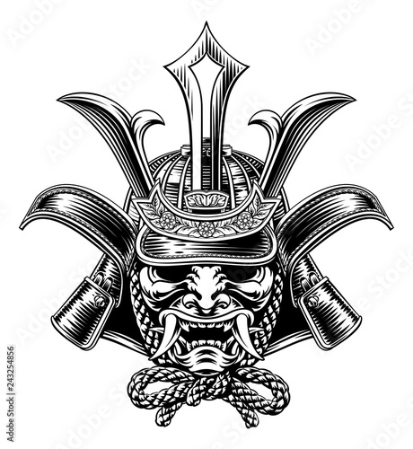 Stampa su Tela A samurai mask Japanese shogun warrior helmet illustration