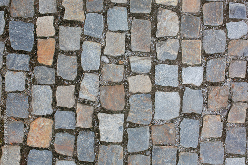 Fotomural Wet cobbled stone sidewalk after the rain in historical center in Prague