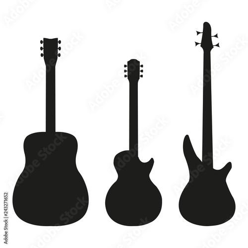 Fotografie, Obraz Set guitar in silhouette style on a white background