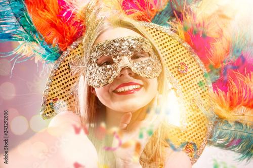 Fotografie, Obraz Beautiful young woman in carnival mask