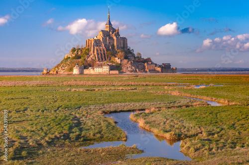 Obraz na plátně Mont Saint Michel at sunset, Normandy, France