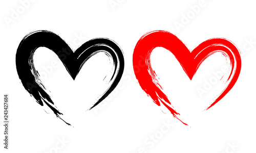 Fotografiet Black and red heart shape