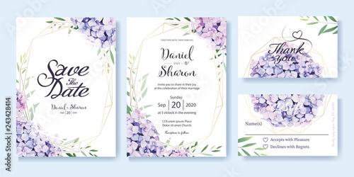 Fototapeta Wedding Invitation, save the date, thank you, RSVP card Design template