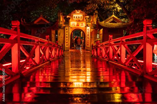 Ngoc Son Temple. Hanoi city old town at night, Vietnam