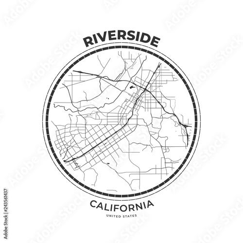 T-shirt map badge of Riverside, California Fototapeta